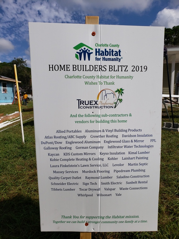 Sign informing about the Home Builders Blitz and list all the companies that helped